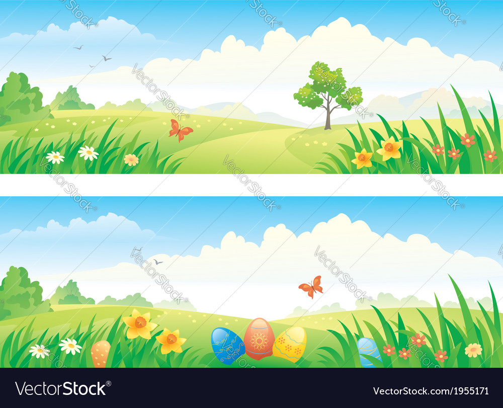 Easter and spring banners vector