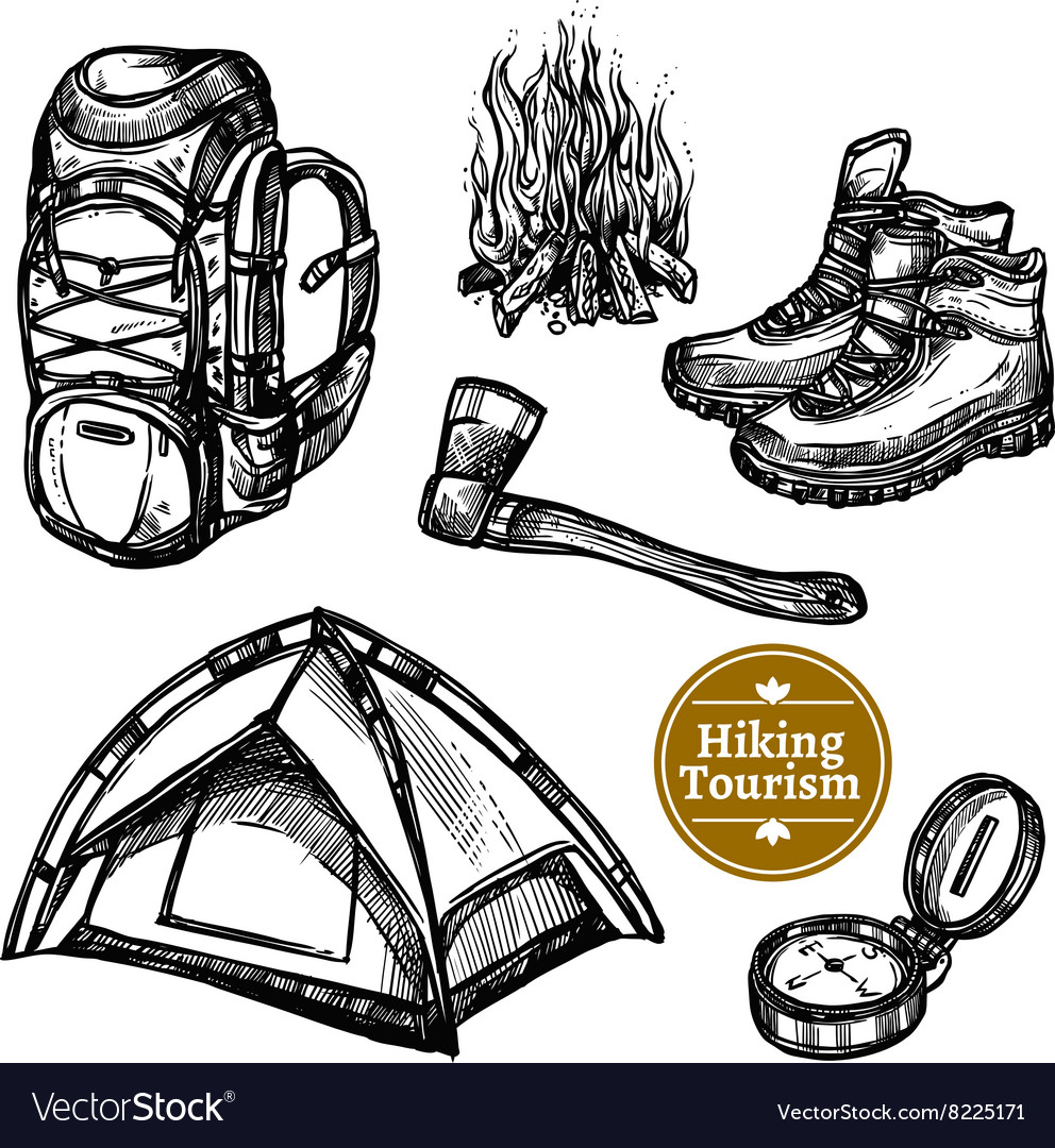 Tourism camping hiking sketch set vector