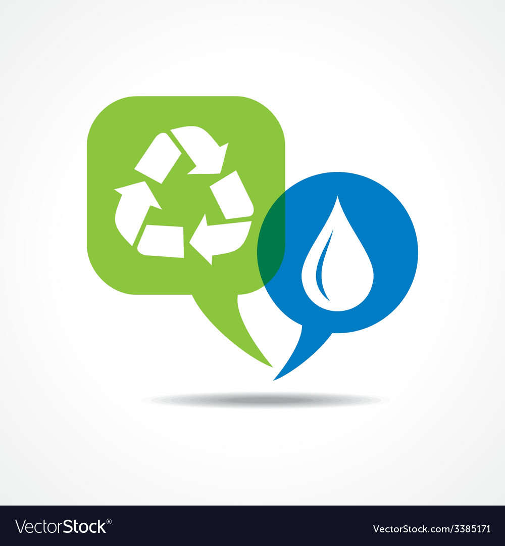 Waterdrop and recycle icon in message bubble vector