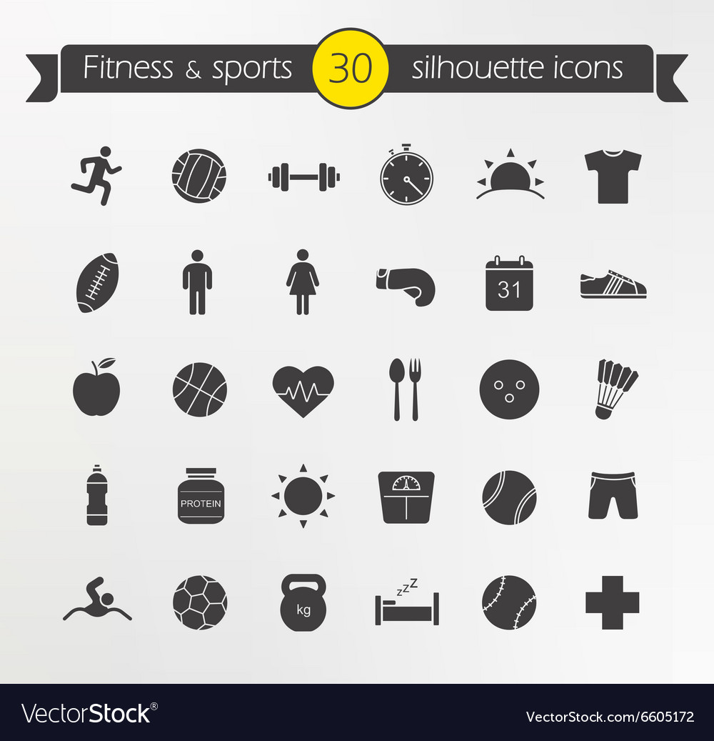Fitness silhouette icons set vector