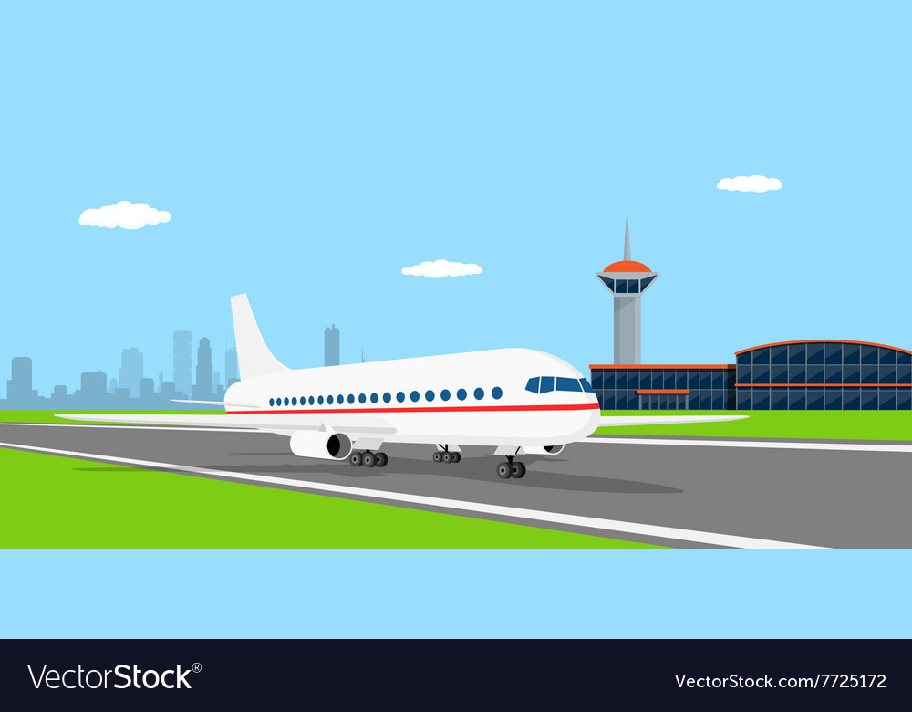 Plane on landing strip vector