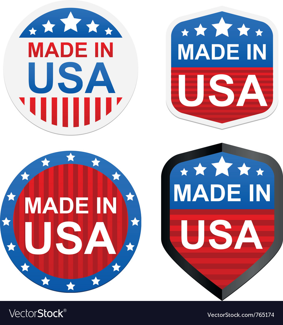 4 stickers  made in usa vector