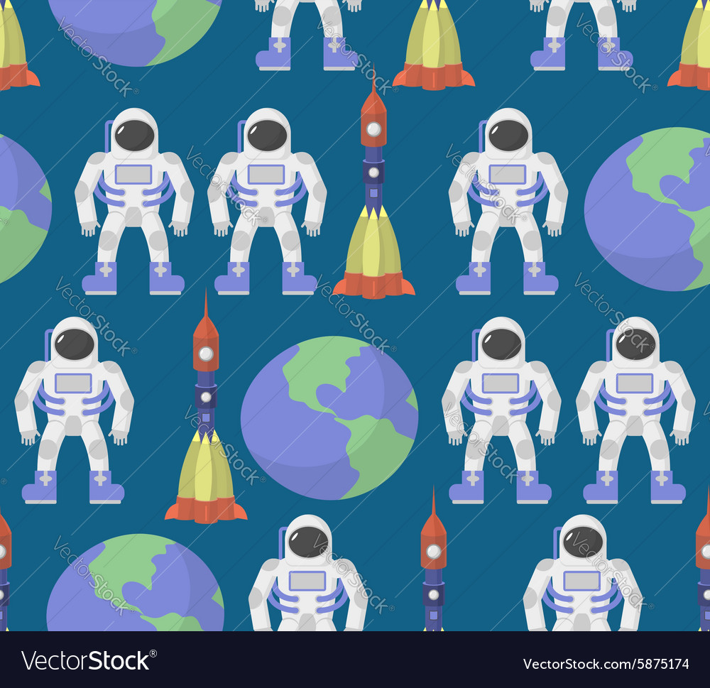 Astronaut and earth seamless ornament background vector