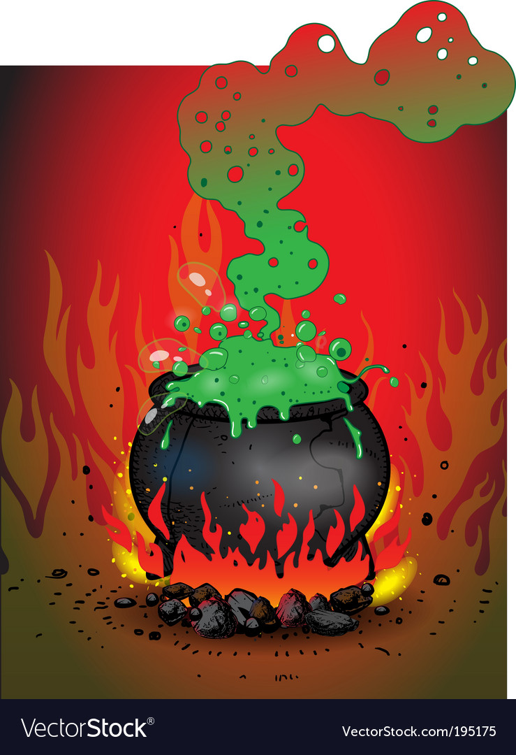 Boiling cauldron vector