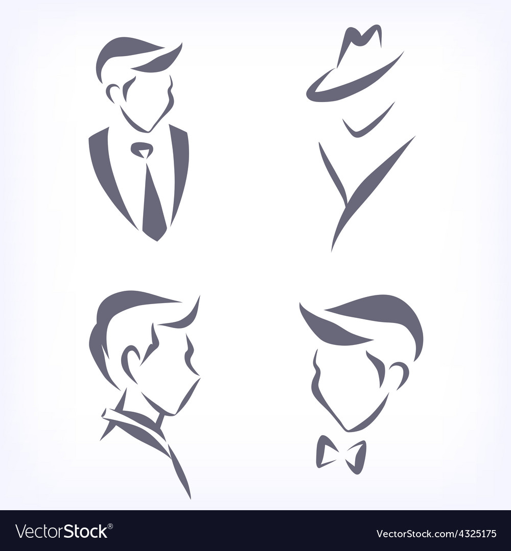 Collection of symbolic men faces vector