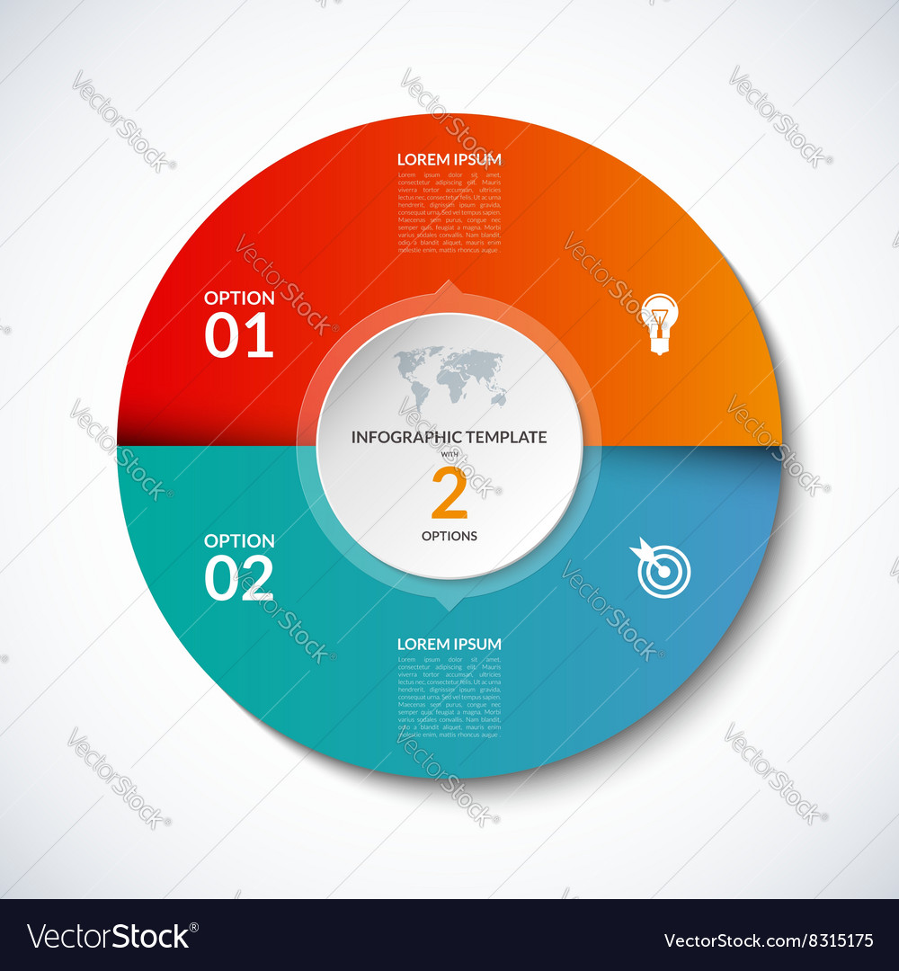 Infographic circle template with 2 options vector