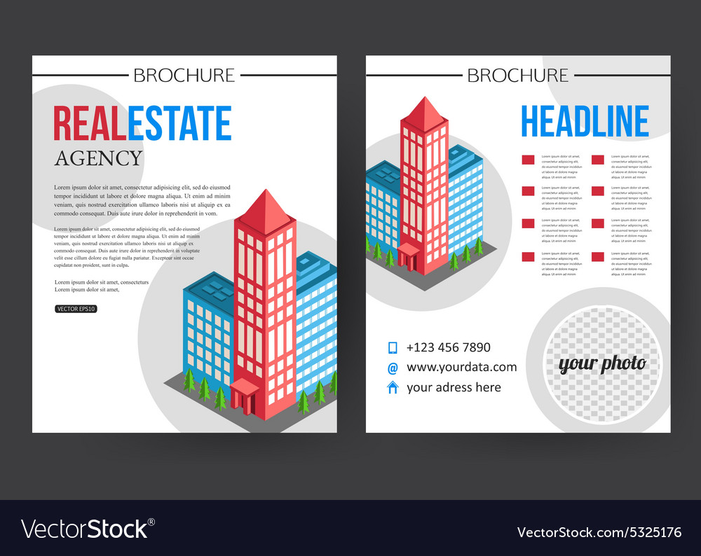 Flat isometric city real estate brochure template vector