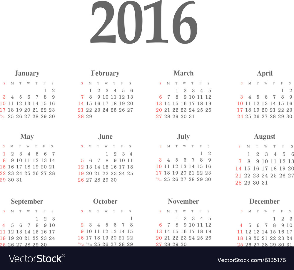 Simple 2016 year calendar vector