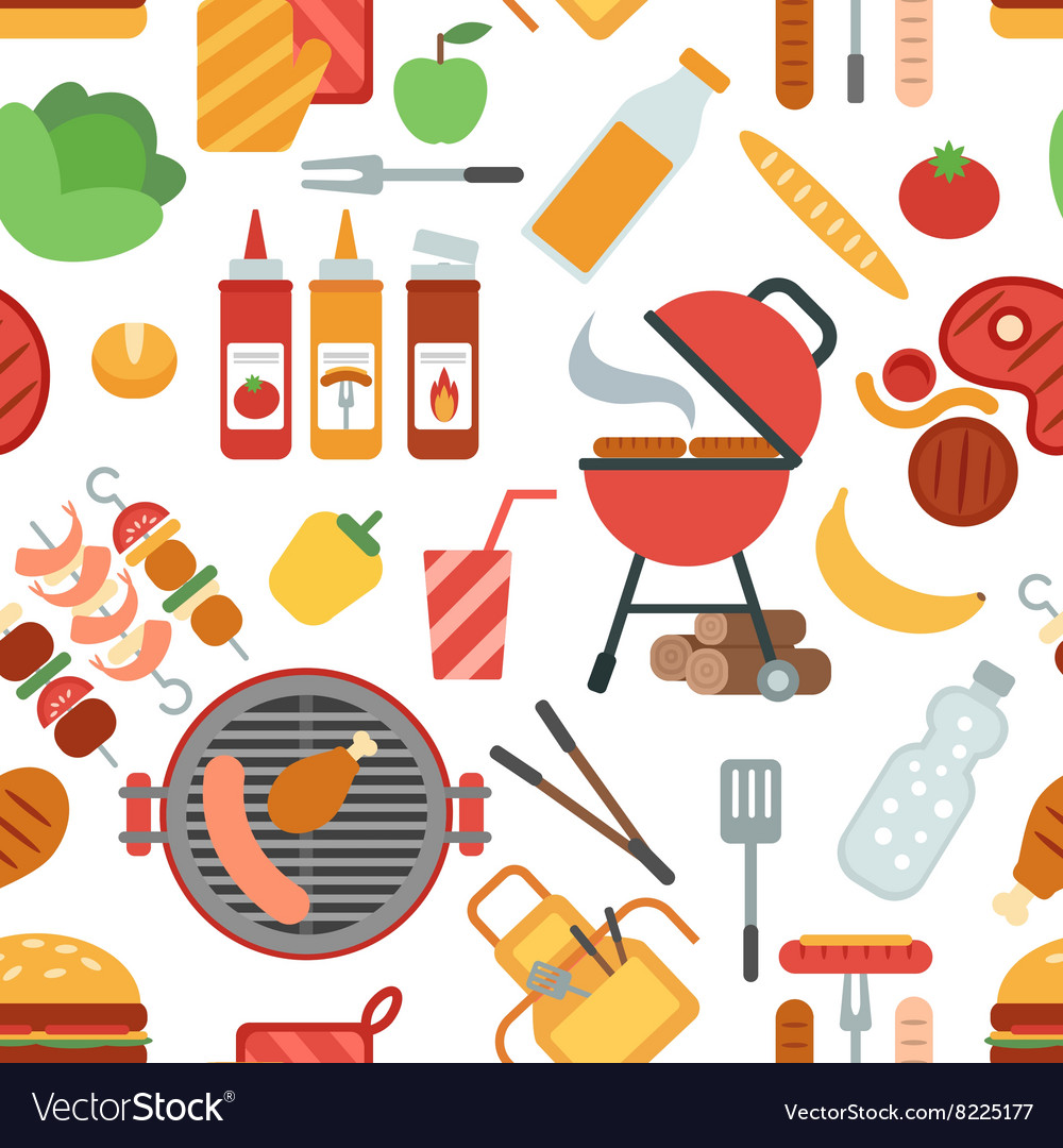 Bbq party seamless vector