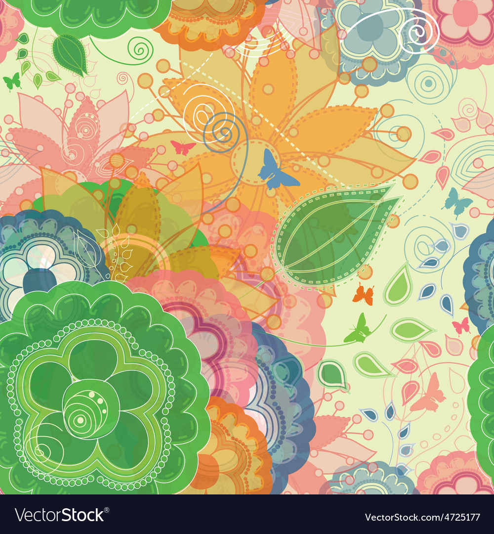 Butterflies and garden inspired seamless pattern vector
