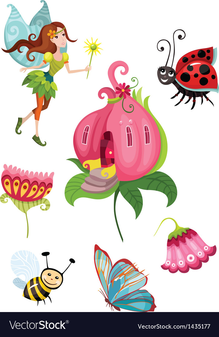 Cute fairy set vector