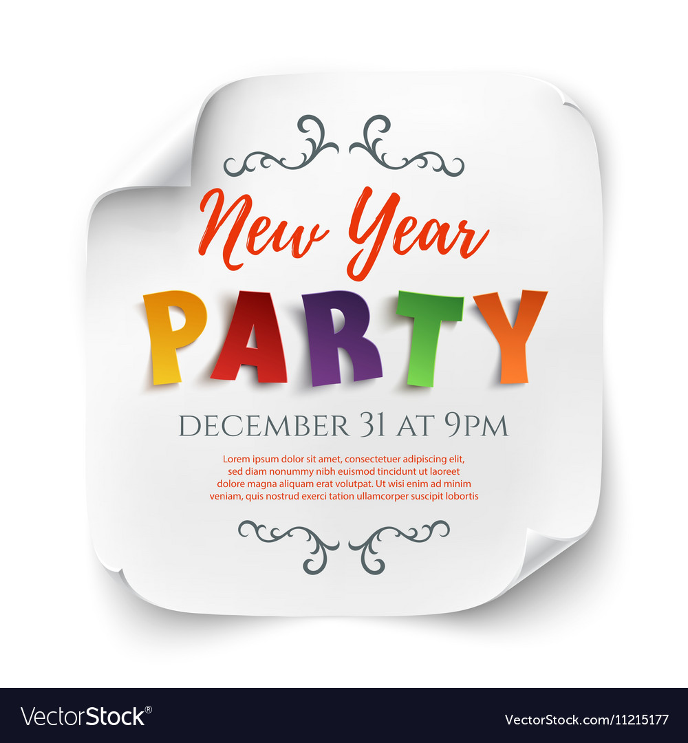 New year party poster template on white vector