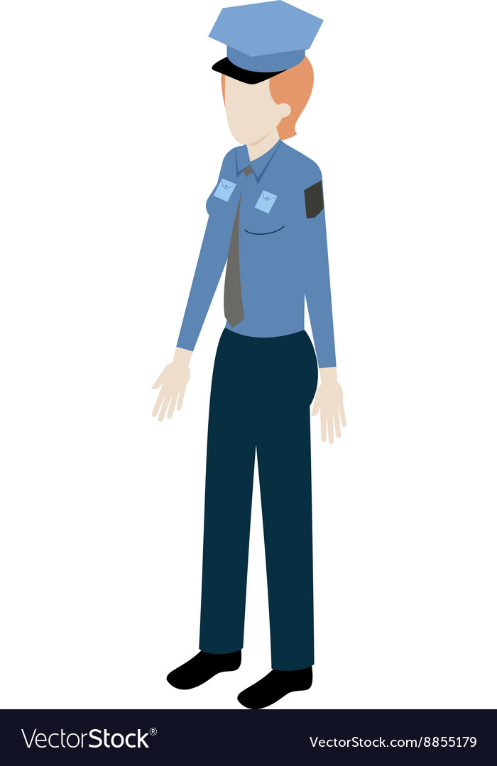 Isometric woman policeman vector