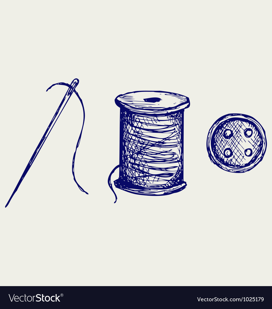 Spool with threads and sewing button vector