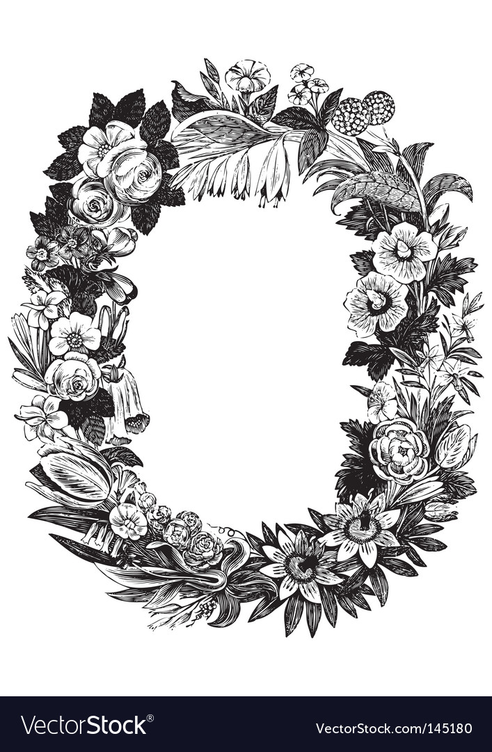 Antique flower frame vector