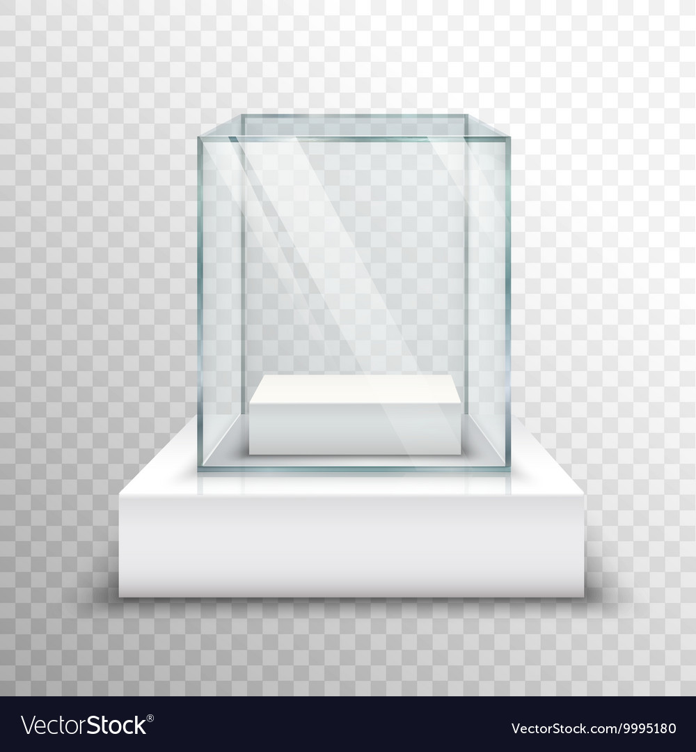 Empty glass showcase transparent vector