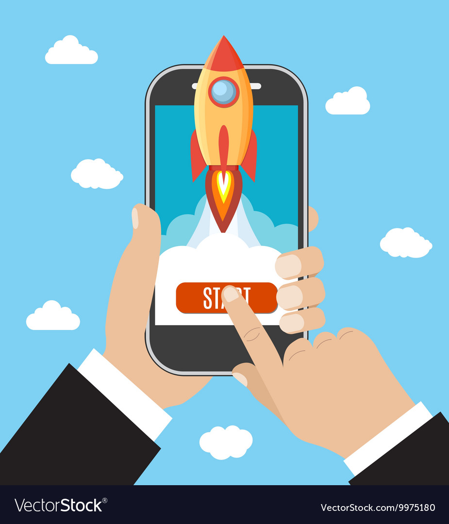 Hand holds smartphone with launch rocket vector