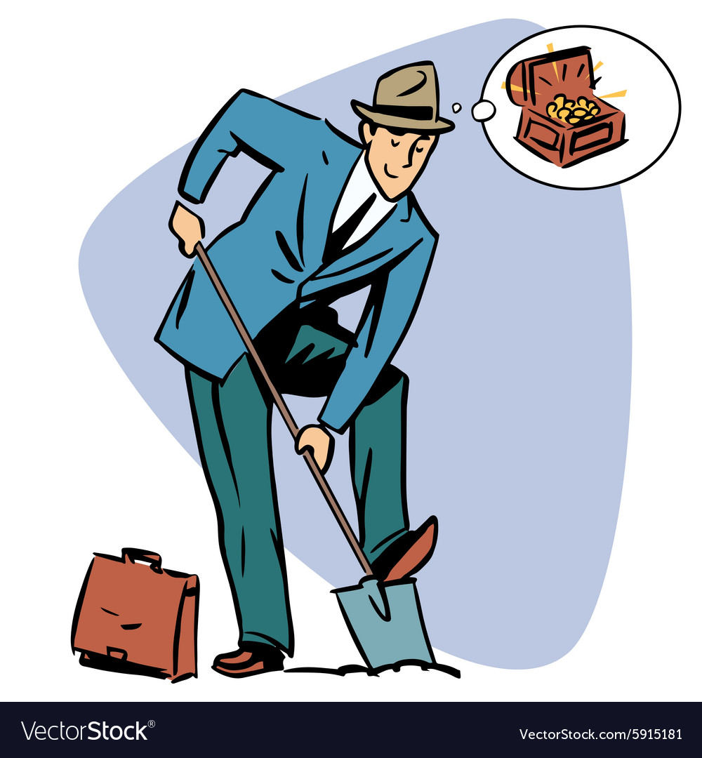 Businessman treasure hunter dreams money business vector