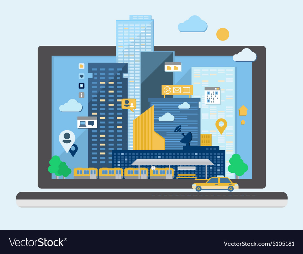Urban landscape in flat design vector