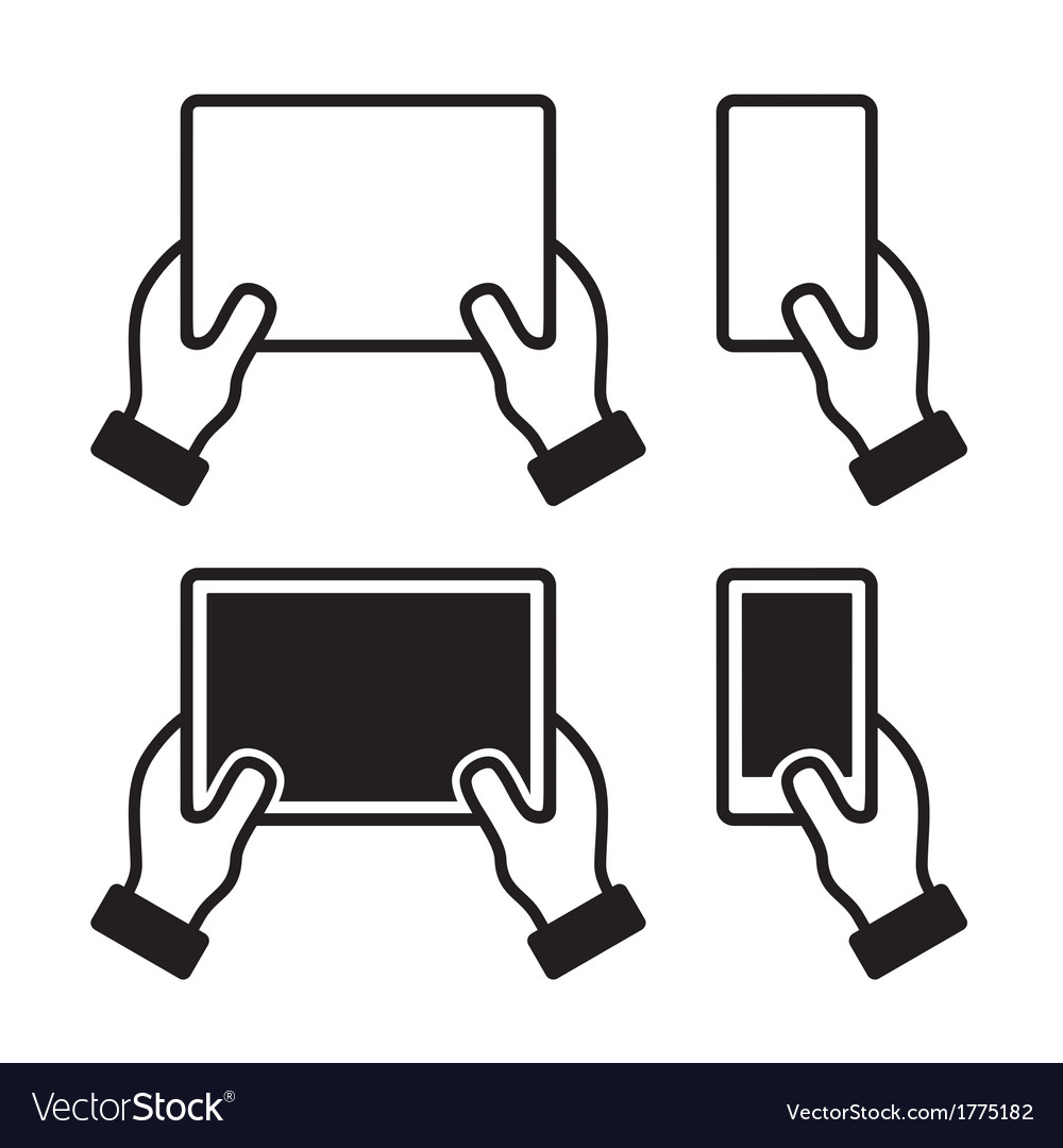 Icons set of hands holding smart phone and tablet vector