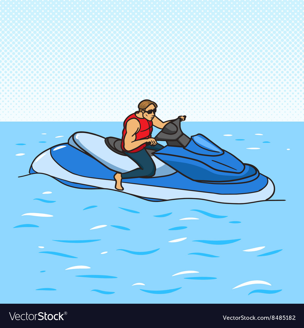 Jetski on water pop art style vector