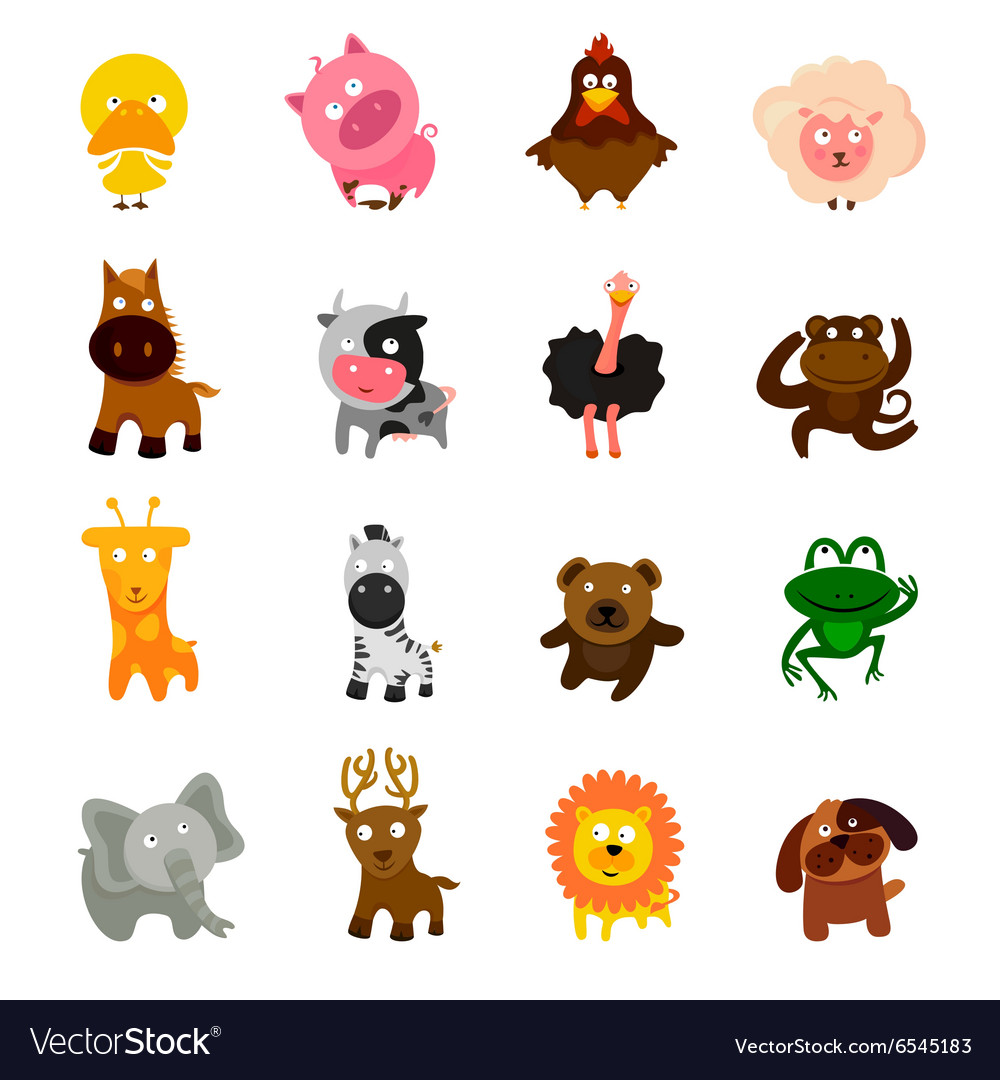 Cartoon cute animal set vector