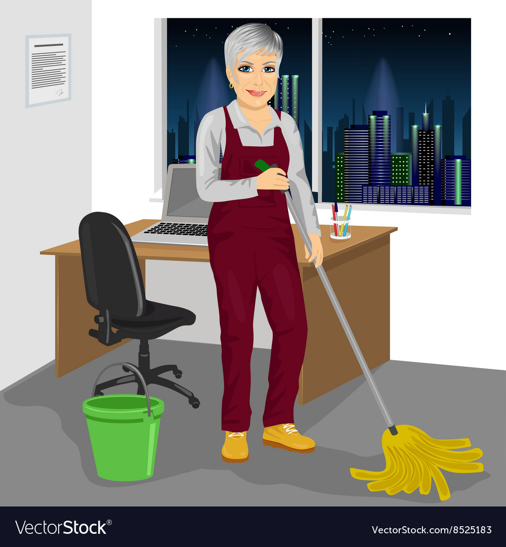 Senior cleaning woman mopping floor in office vector