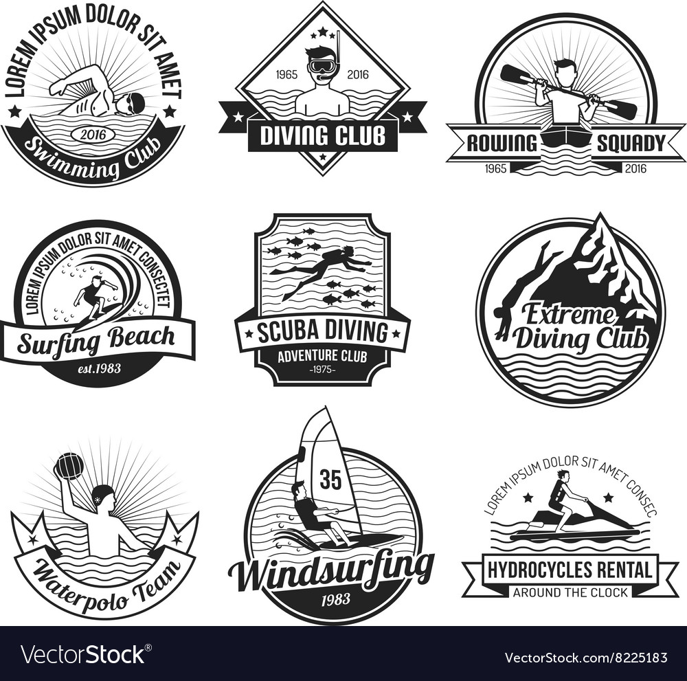 Water sport black label set vector