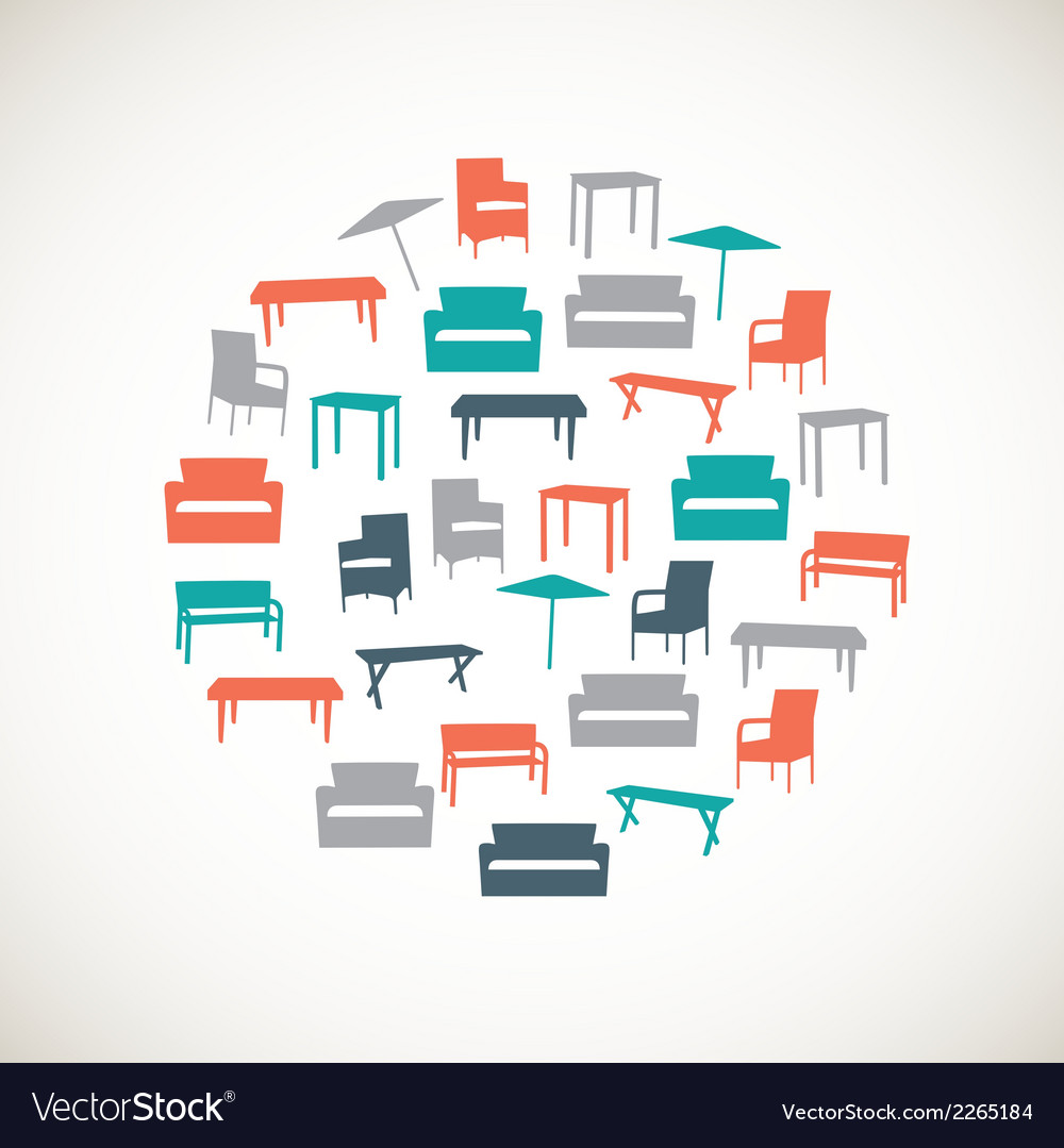Colorful furniture icons  outdoor vector