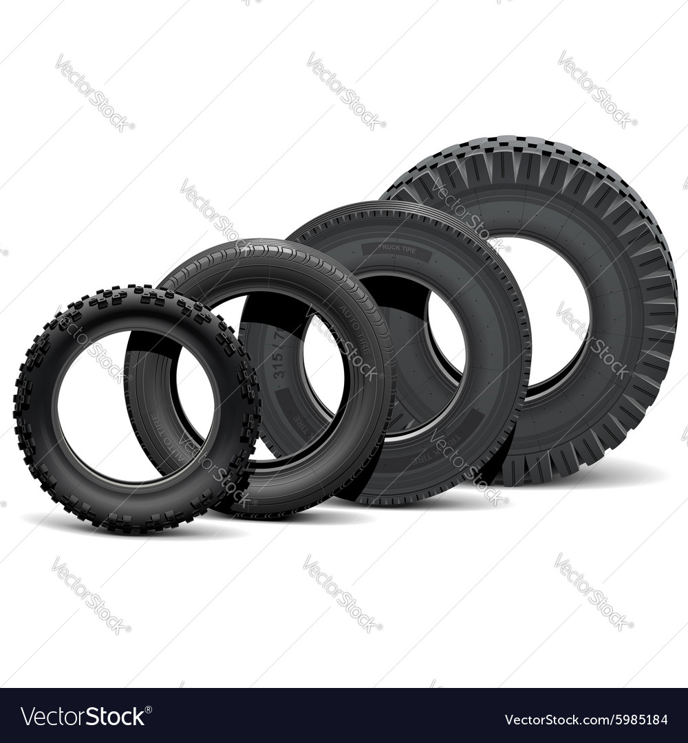 Different vehicle tires vector
