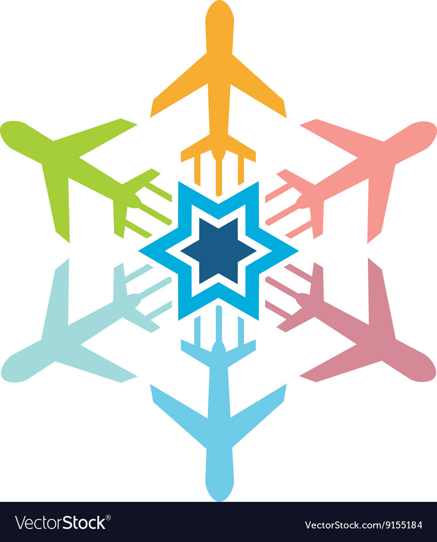 Logo airplane star transportation travel holiday vector