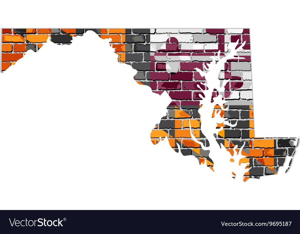 Maryland map on a brick wall vector