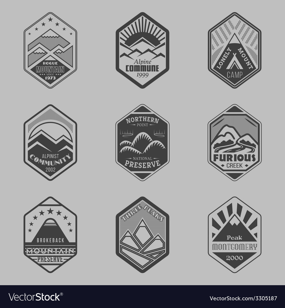 Mount badge set1 vector