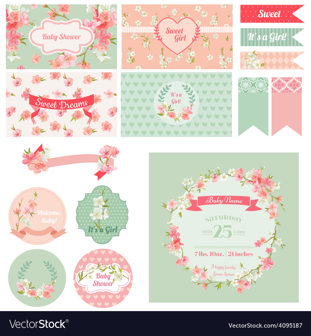 Scrapbook design elements  baby shower vector