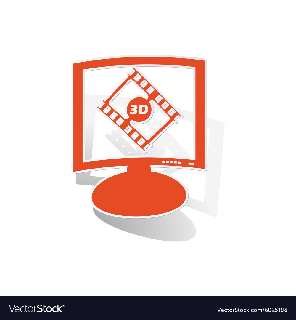 3d movie monitor sticker orange vector