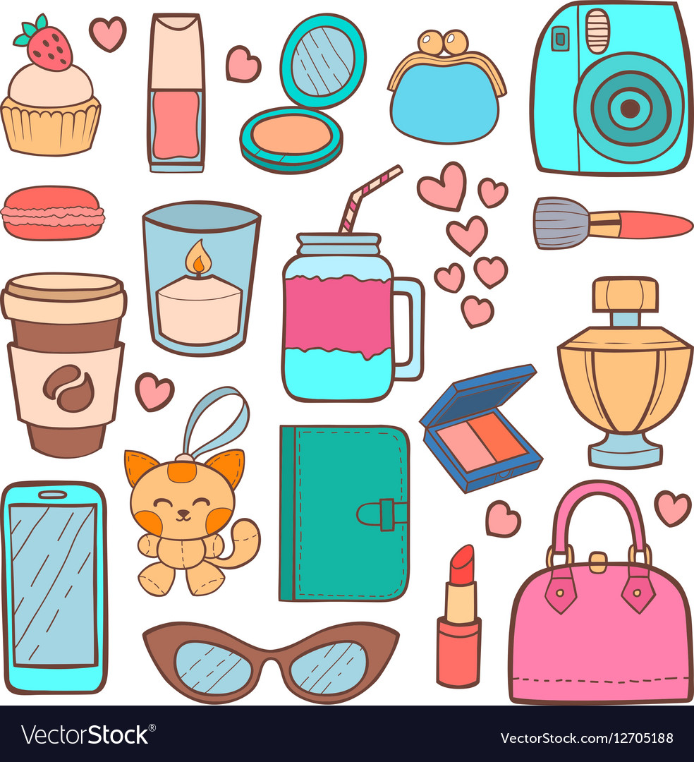 Cute hipster stickers patch vector