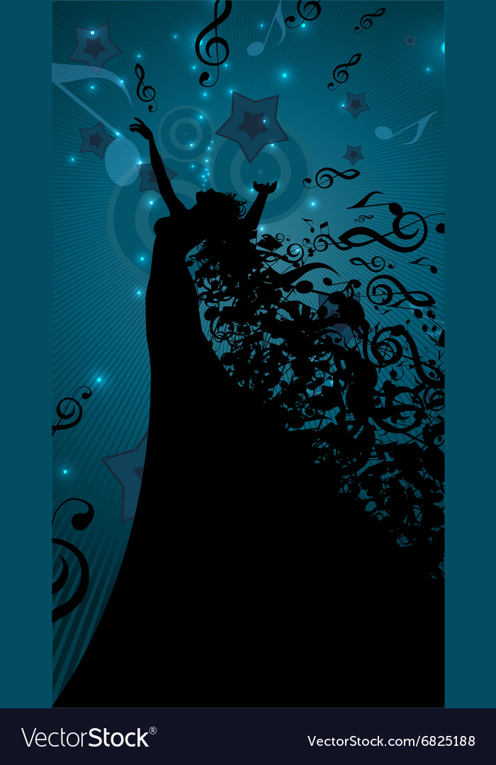 Silhouette of opera singer with hair like musical vector