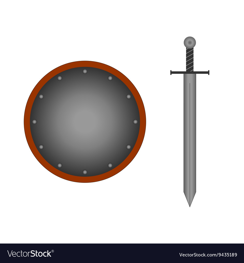 Set round shield sword silver 1505 vector
