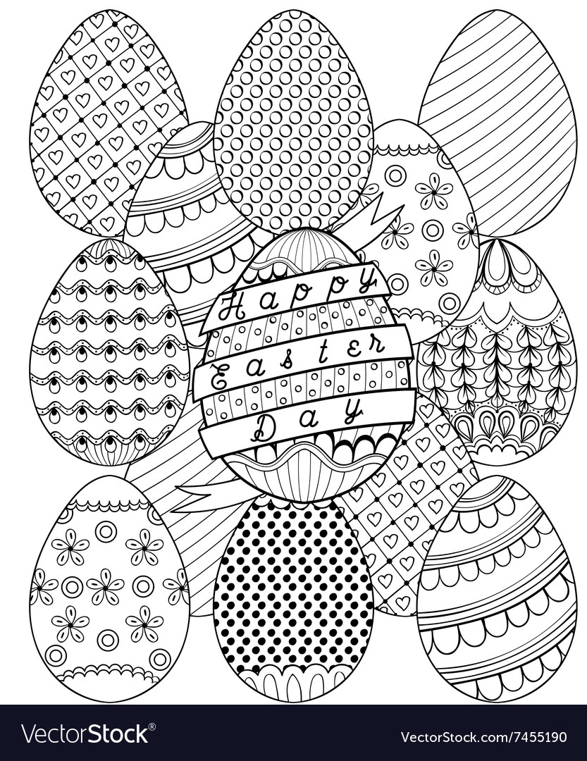 Hand drawn artistic easter eggs pattern for adult vector