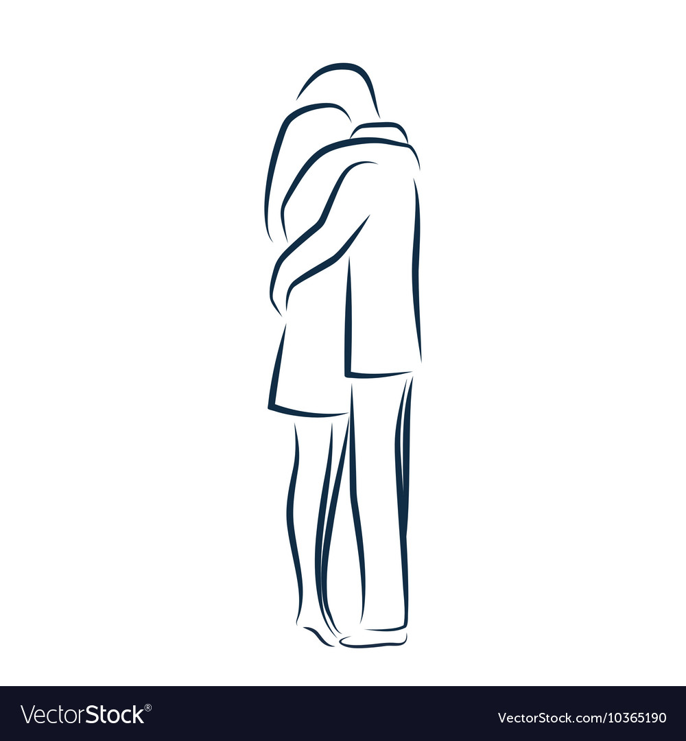 Man and woman hugging each other vector