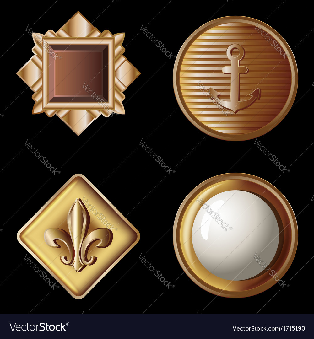 Set of vintage gold buttons  vector