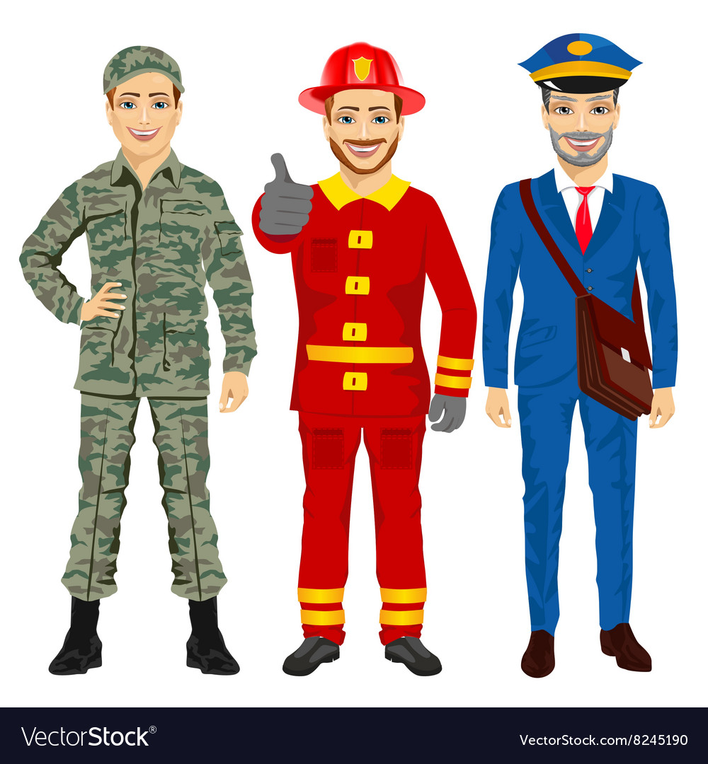 Soldier fireman and postman characters vector