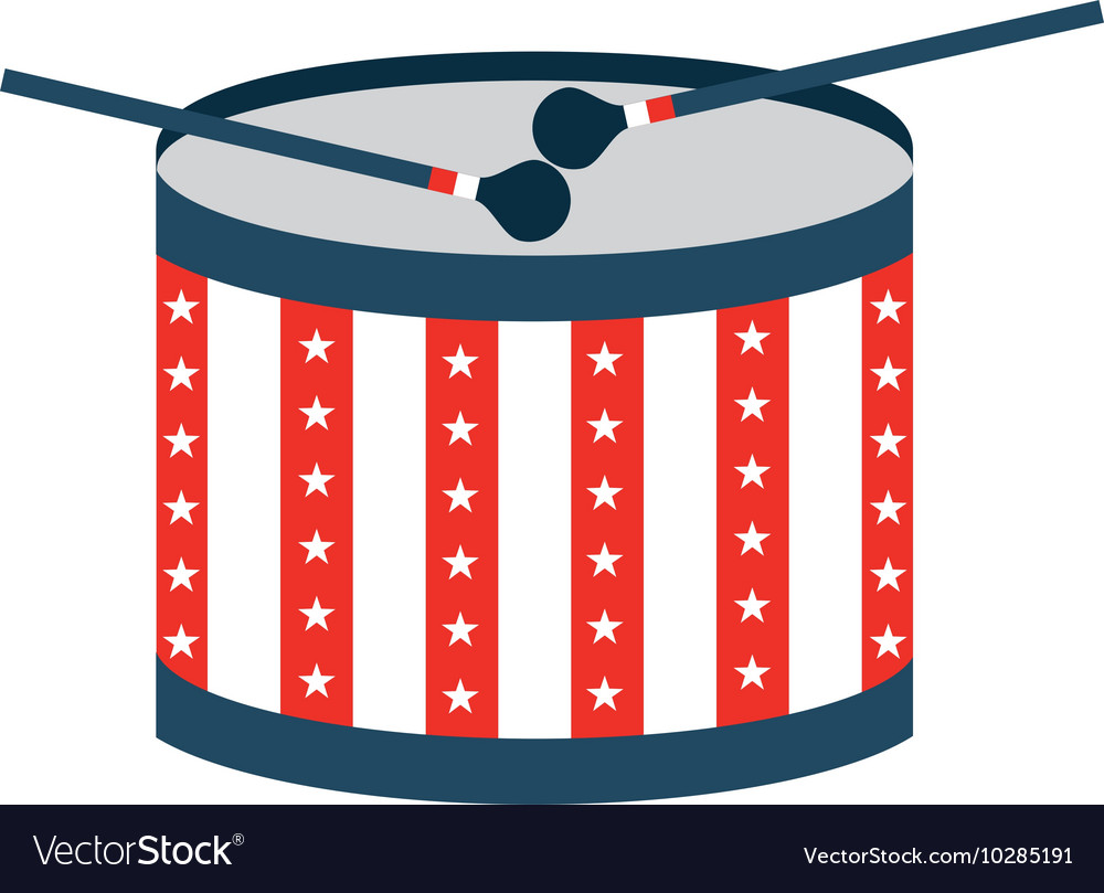 Drum usa instrument isolated vector