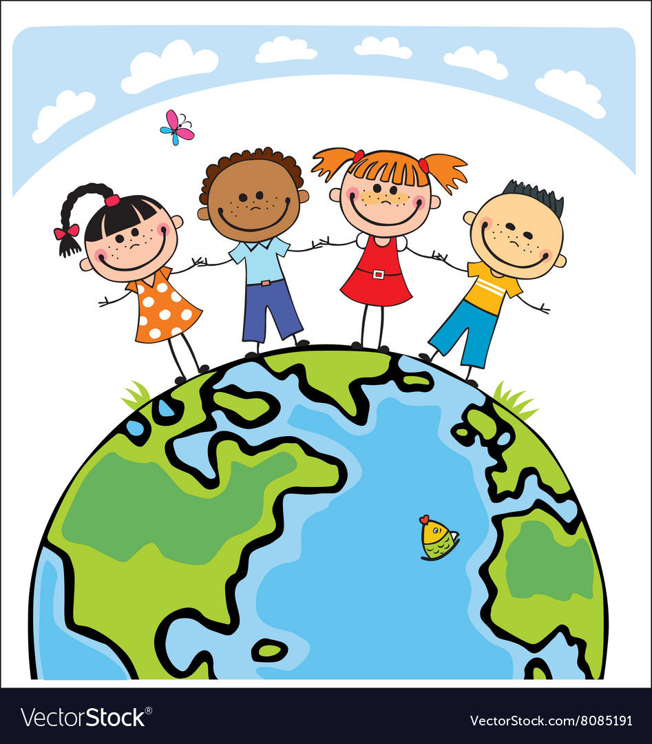 Globe kids children earth day vector