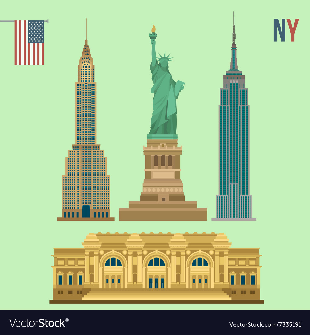 Set of new york famous buildings vector