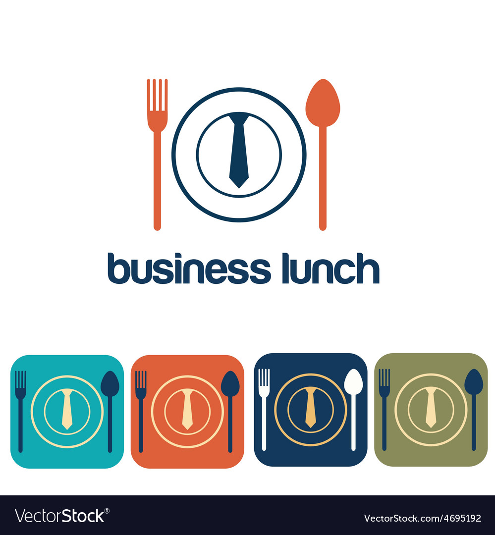 Business lunch and icon set flat design vector