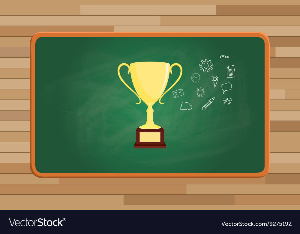 Trophy gold with icon symbol on front of green vector