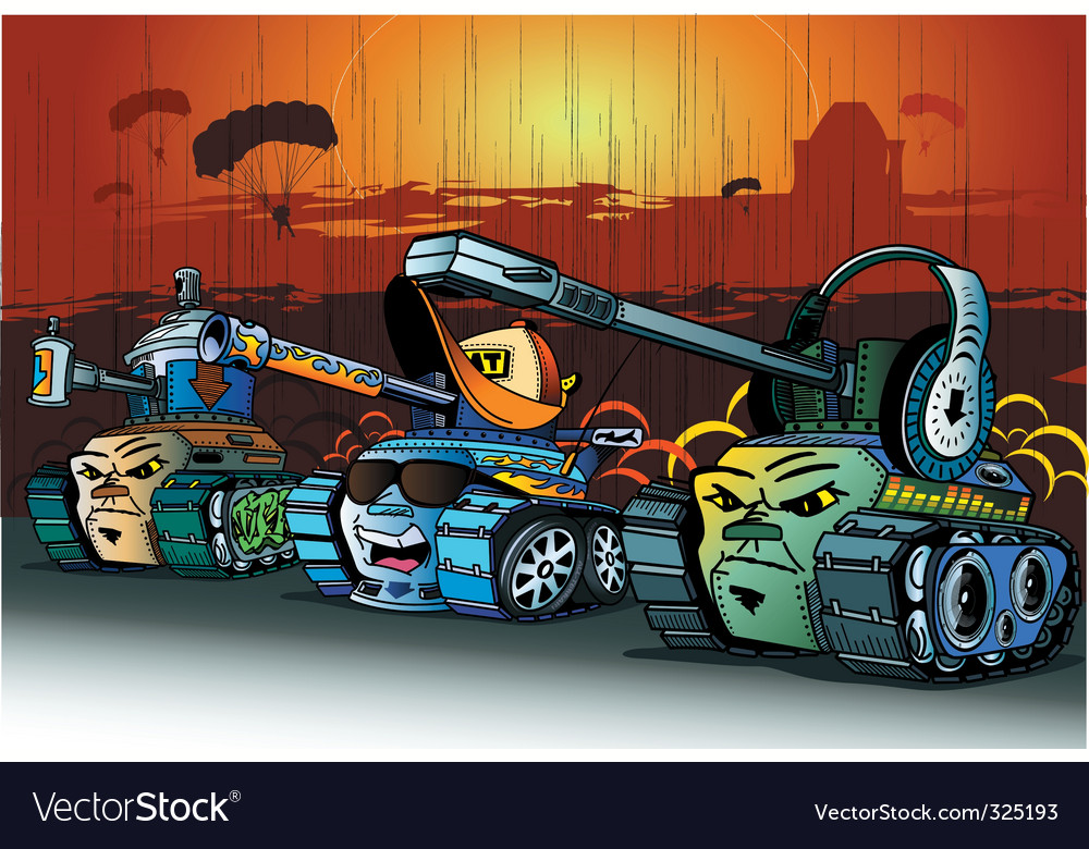 Cartoon tanks vector