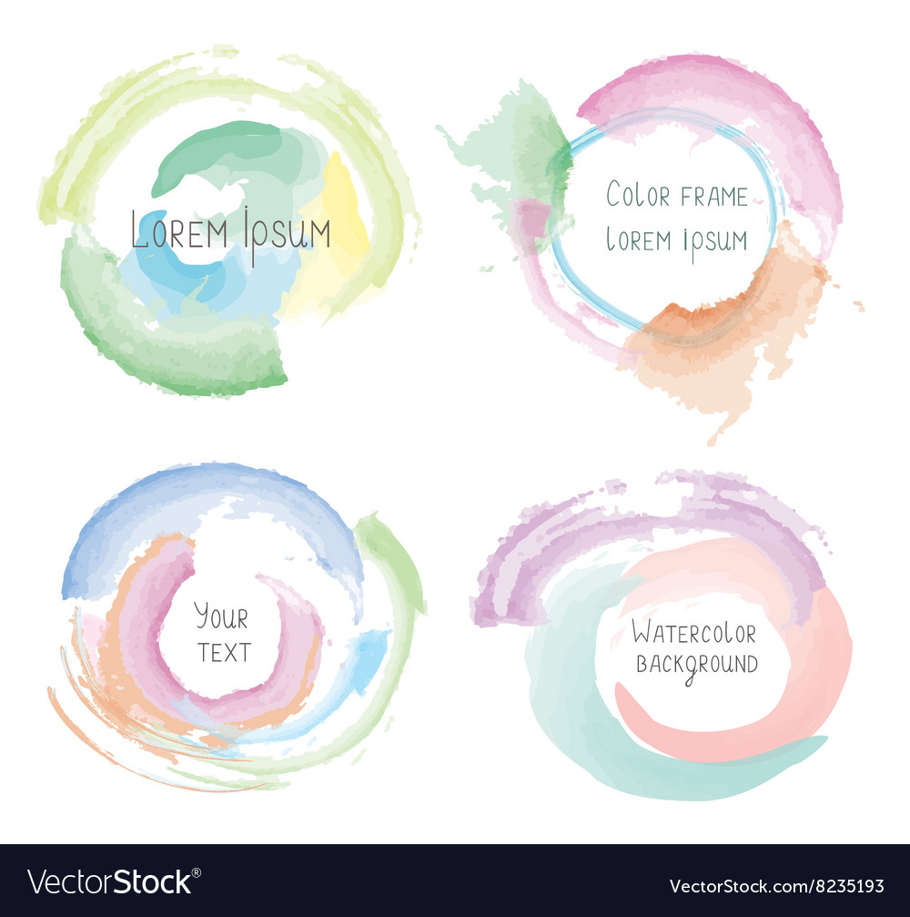 Watercolor style splashes and frames set vector