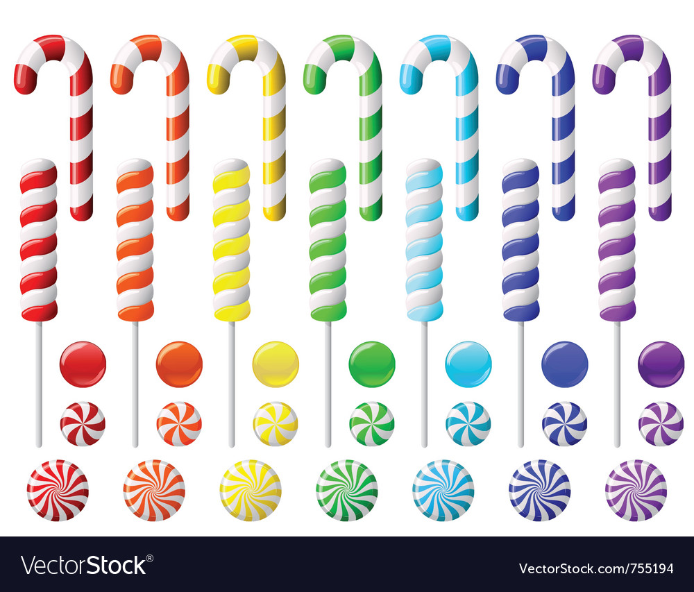 Delicious lollipop collection vector